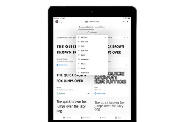 Adobe brings its enormous font library to iPhone and iPad