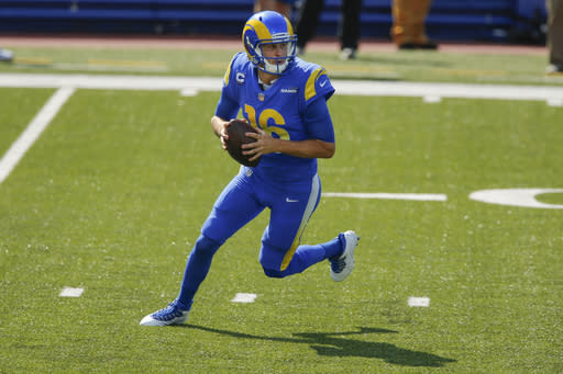Los Angeles Rams quarterback Jared Goff (16) looks to pass during the first half of an NFL football game against the Buffalo Bills Sunday, Aug. 26, 2018, in Orchard Park, N.Y. (AP Photo/John Munson)