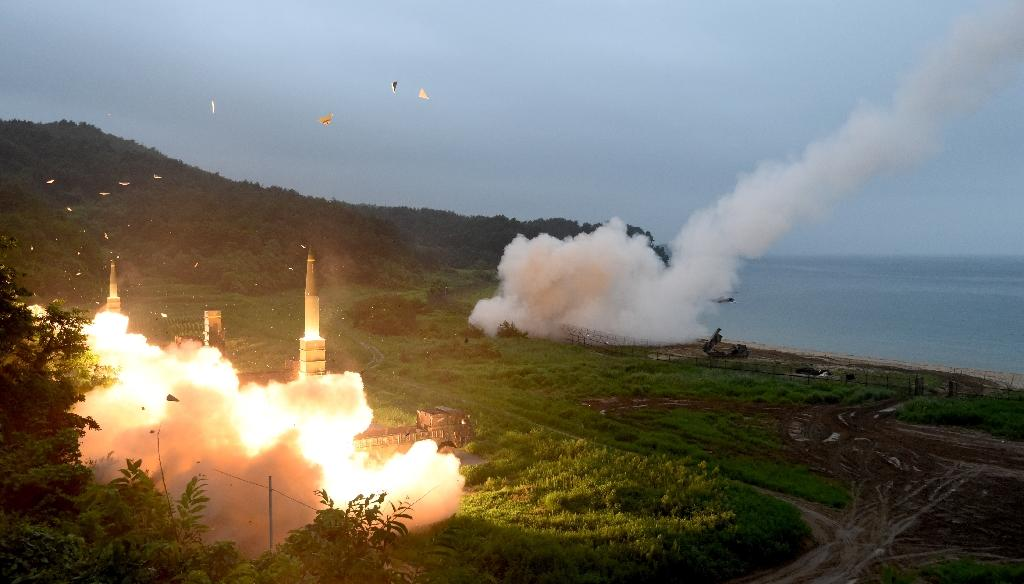 The US and South Korean militaries conduct a live-fire exercise using surface-to-surface missiles in response to the latest test (AFP Photo/str)