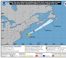 Tropical Storm Claudette is back over water, and there's another Atlantic disturbance