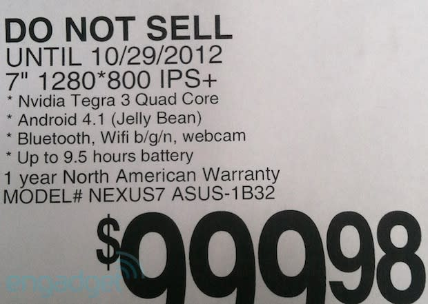 32GB Nexus 7 tablets appear at retail with $249 price tag, October 29th street date