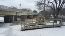 New Assiniboine River platform, path to replace unsafe dock and 'goat trail'