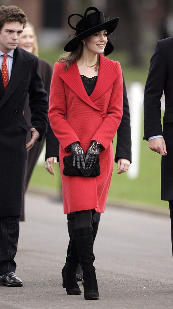 Kate wore a red Armani coat to the Sovereign's Parade at the Royal Military Academy.