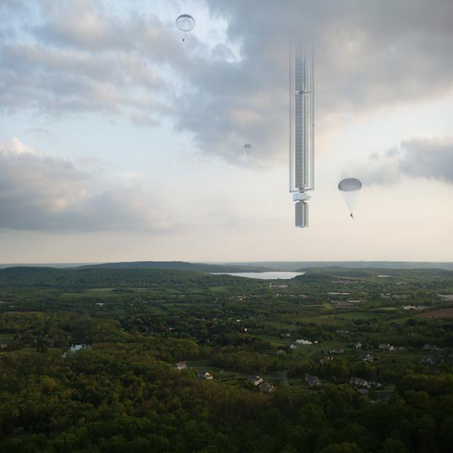 The concept art suggest residents would parachute from the building - Credit: Clouds Architecture Office