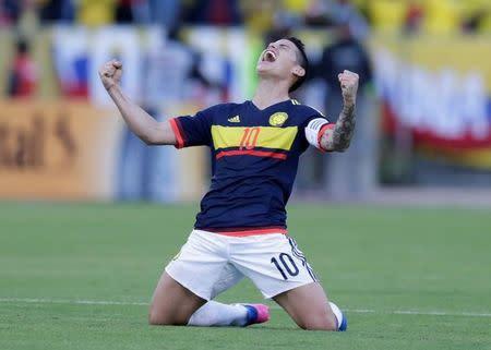 James Rodriguez comemora vitória da Colômbia sobre o Equador pelas eliminatórias sul-americanas para a Copa do Mundo