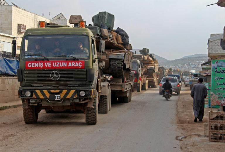 A Turkish military convoy in Syria's Idlib province, where the UN fears current violence could worsen