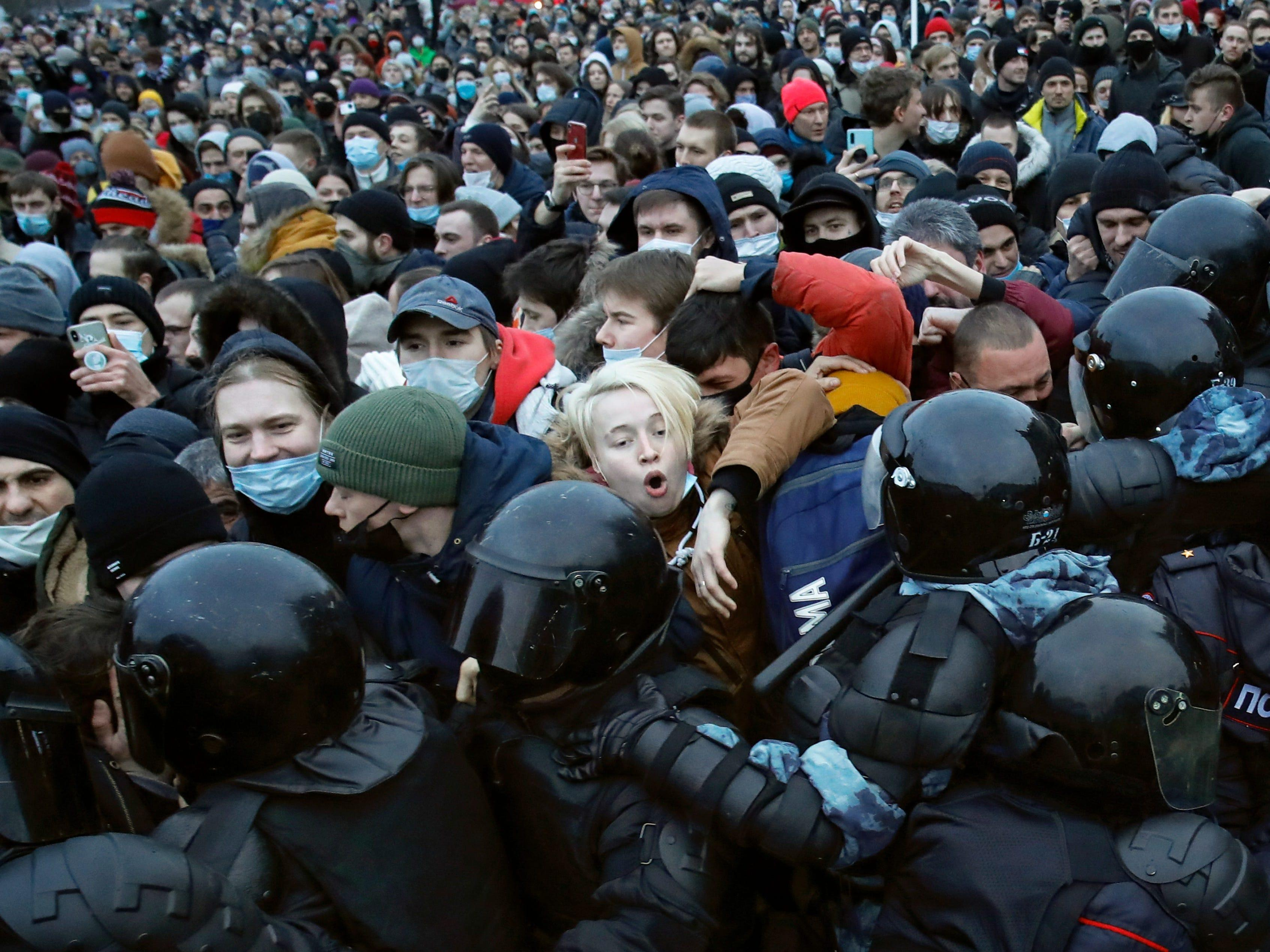 The wife of Russian opposition leader Alexei Navalny is arrested as mass protests defy Putin and call for his release from prison