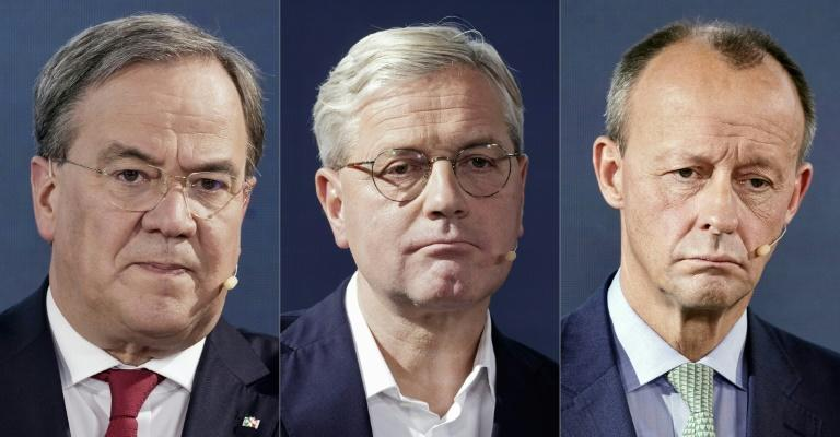 the three candidates for the leadership of the Christian Democratic Union party (CDU)during the online debate. Left to right - Armin Laschet, Norbert Roettgen, Friedrich Merz