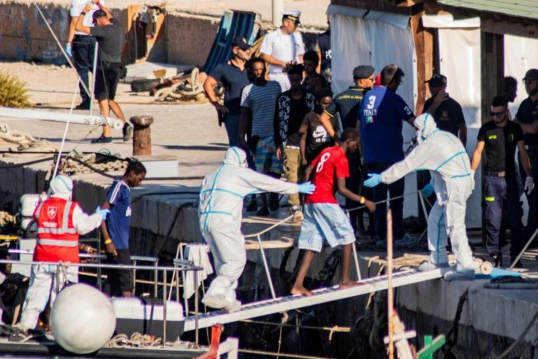 Italy has taken in 27 unaccompanied migrant children from the vessel but demanded the rest stay on the ship (AFP Photo/Alessandro SERRANO)