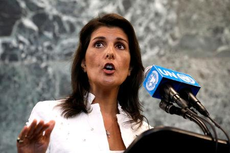 FILE PHOTO: U.S. Ambassador to U.N. Nikki Haley speaks at press briefing at U.N. headquarters in New York