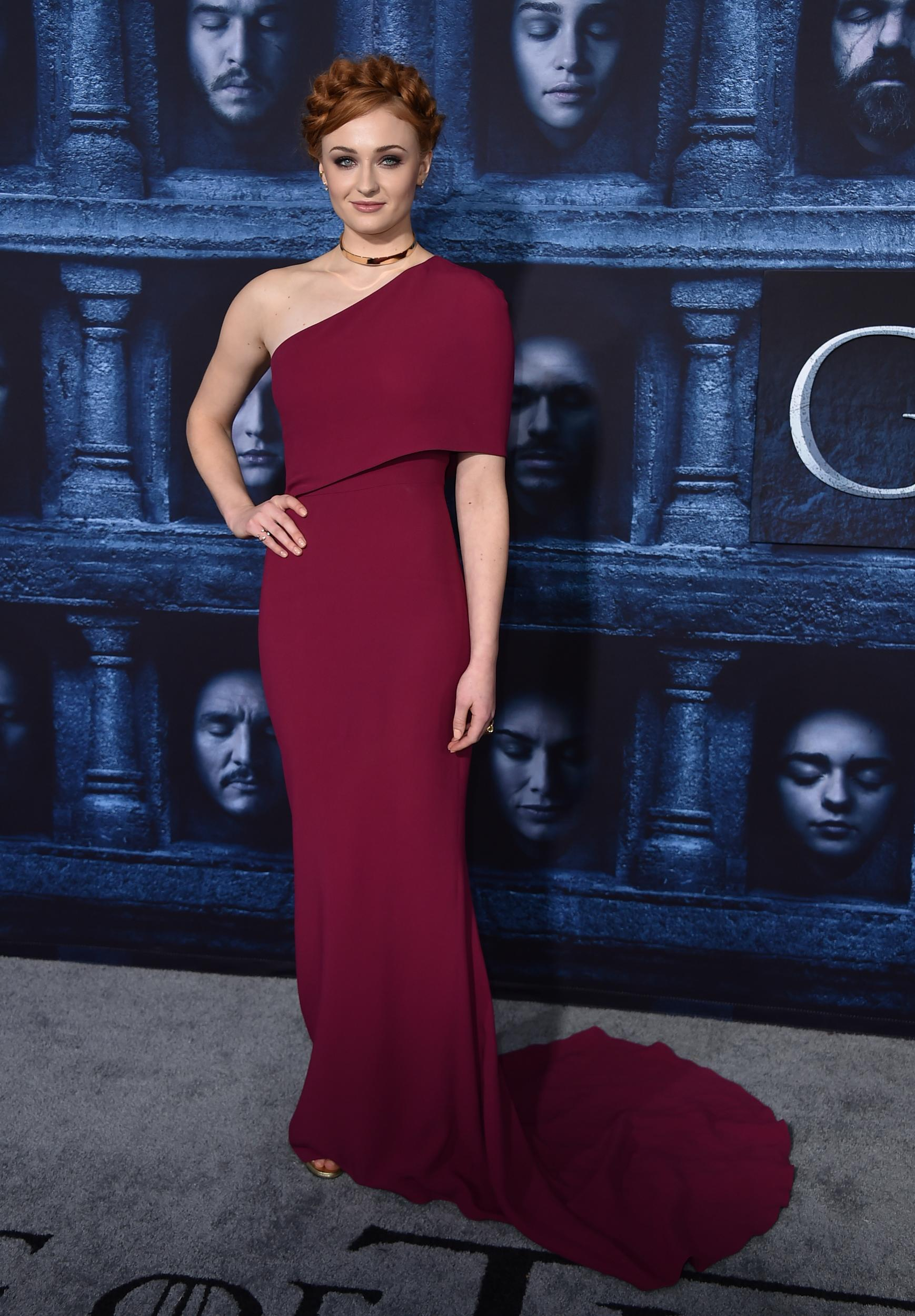 """Sophie Turner attends the season six premiere of  """"Game Of Thrones"""" at TCL Chinese Theatre on Sunday, Apr. 10, 2016 in Los Angeles. (Photo by Jordan Strauss/Invision/AP)"""