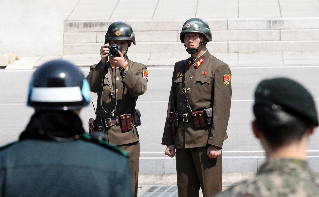 Talks between North and South Korea are rare, and usually take place at Panmunjom, a truce village on the heavily fortified frontier that separates the two countries, where solders from both sides face off (AFP Photo/Lee Jin-man)