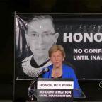 Senator Elizabeth Warren rallies crowd at Ruth Bader Ginsburg vigil outside Supreme Court