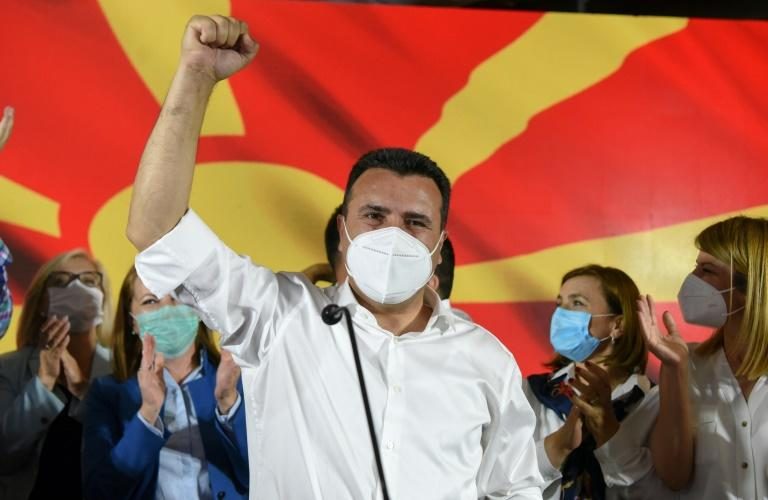 """""""The citizens went out and voted for a clear future, for unity and solidarity, for economic patriotism, for law and order,"""" Zaev said in a victory speech (AFP Photo/Robert ATANASOVSKI)"""