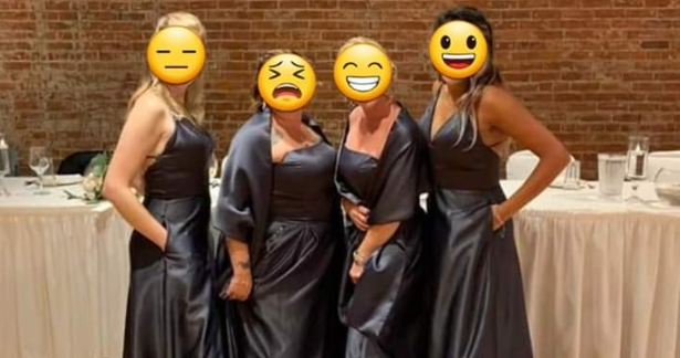 Bridesmaids blasted for wearing 'bin bag' dresses to friend's big day