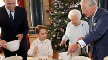 Royal fans are loving Prince George making Christmas puddings with the Queen, Prince Charles and Prince William