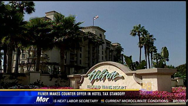 Filner makes counteroffer in hotel tax standoff