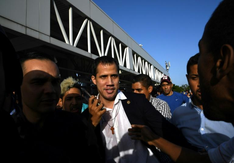 Juan Guaido, pictured February 11, has urged his international allies to ramp up sanctions against Maduro's regime (AFP Photo/Yuri CORTEZ)