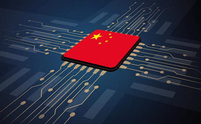 China flag in the center of circuit board, Artificial intelligence of digital illustration