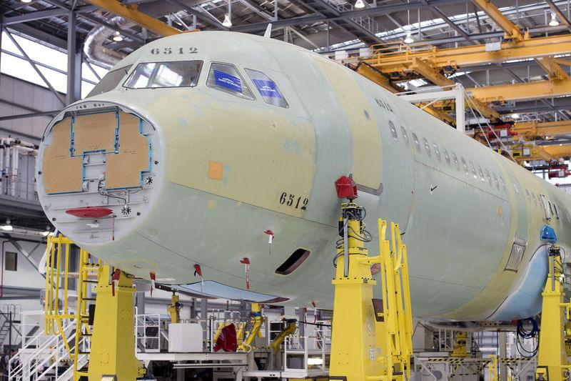 FILE PHOTO: An Airbus A321 in the final assembly line hangar at the Airbus U.S. manufacturing facility in Mobile, Alabama