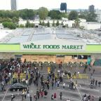 Drone footage shows Los Angeles protest for George Floyd dissolve into looting of Whole Foods Market
