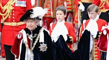 The Queen pairs fashion-forward metallic footwear with matching bag at Order of the Garter