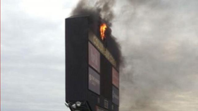 Instant Index: Soccer Match Heats Up as Scoreboard Catches Fire