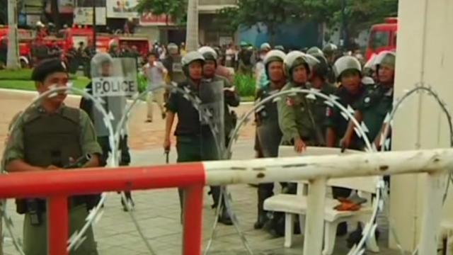 Protesters clash with police in Cambodia
