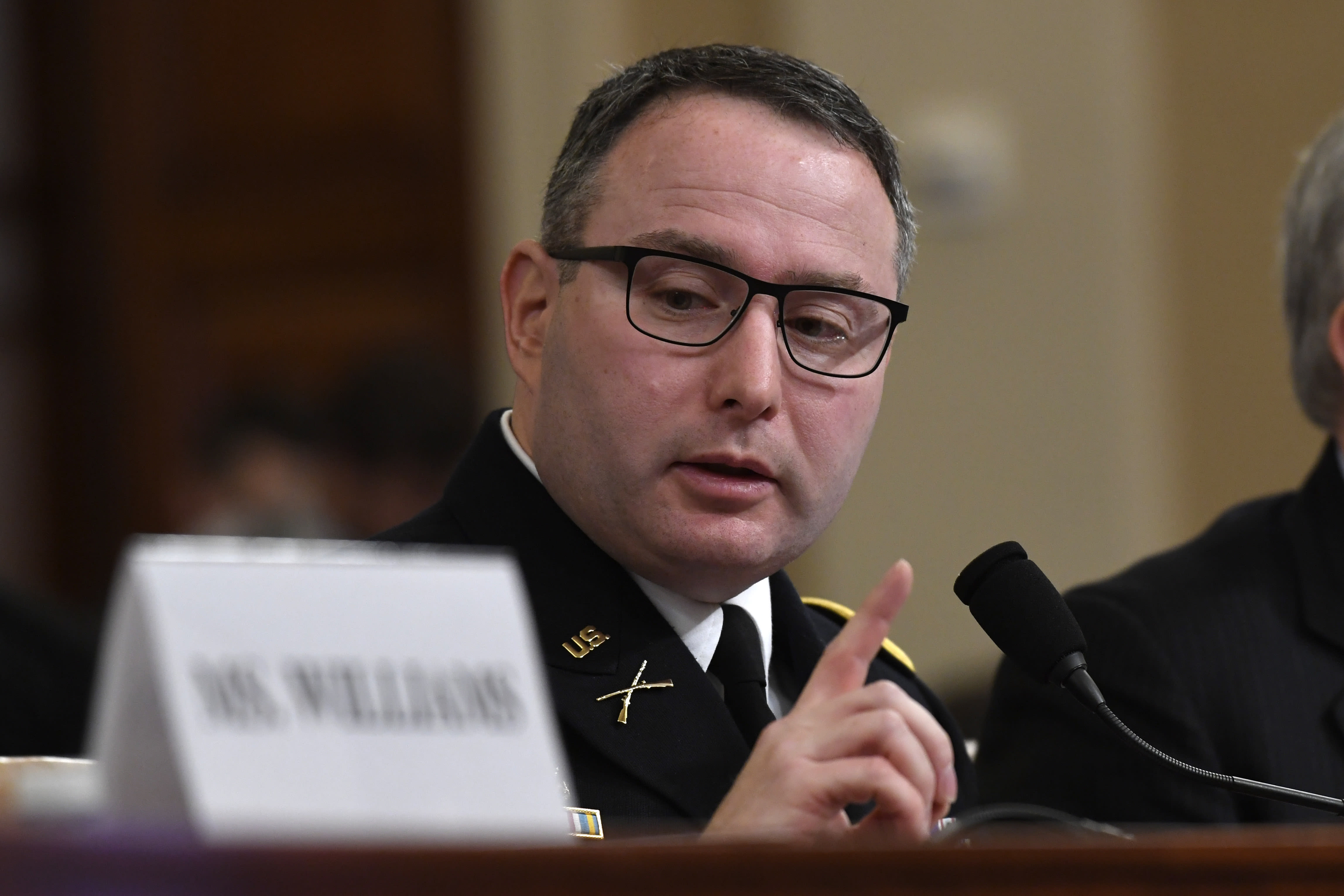 National Security Council aide Lt. Col. Alexander Vindman testifies before the House Intelligence Committee on Capitol Hill in Washington, Tuesday, Nov. 19, 2019, during a public impeachment hearing of President Donald Trump's efforts to tie U.S. aid for Ukraine to investigations of his political opponents. (AP Photo/Susan Walsh)