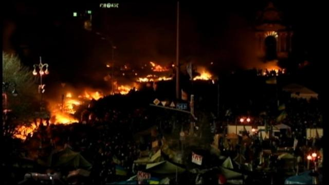 Ukraine Clashes: Riot Police Blocked by Fires