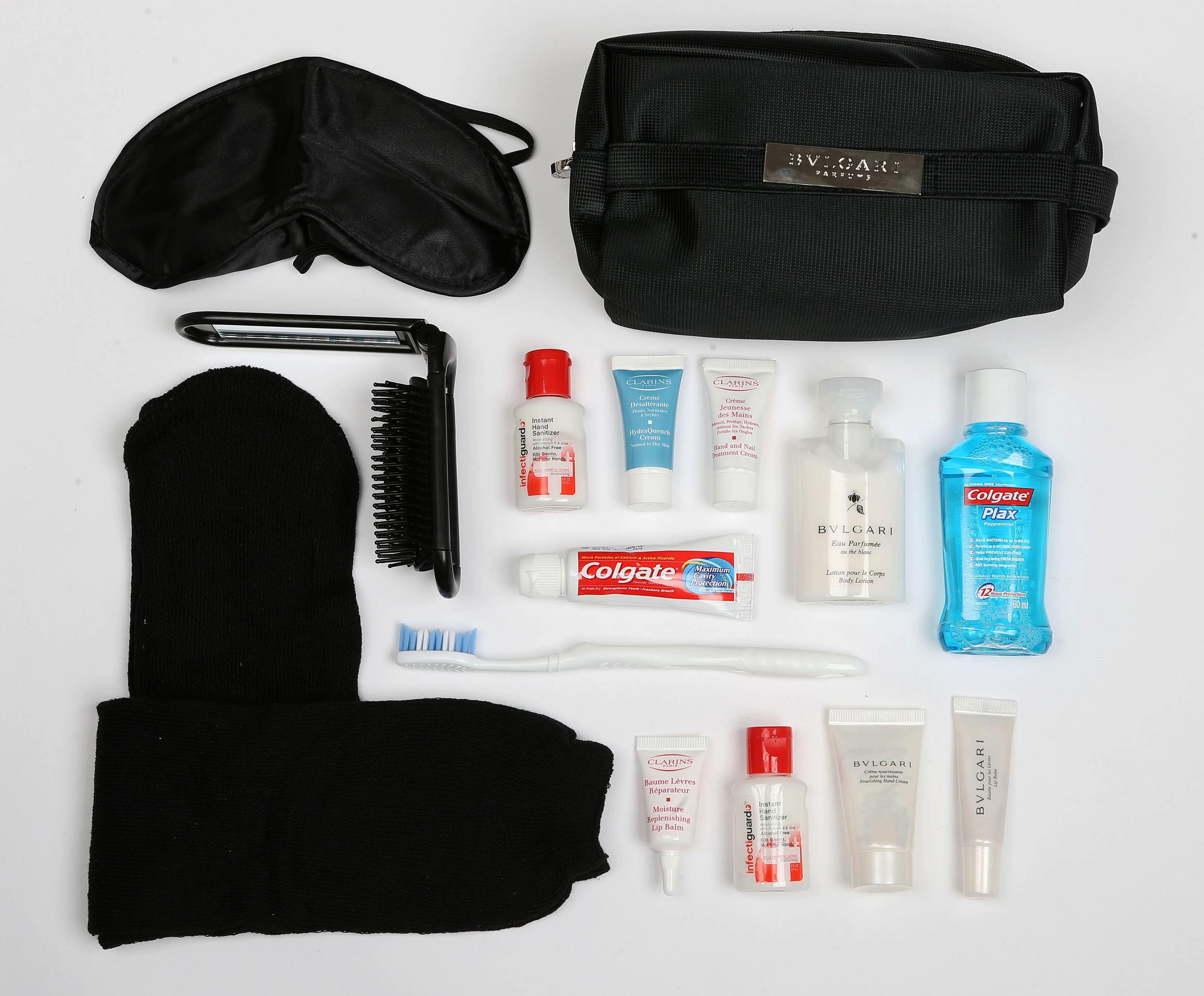 <p><strong>What do you get?</strong> First class: Bulgari products (nourishing hand cream, body lotion and lip balm), eye mask, socks, foldable brush with a pocket mirror, alcohol-free hand sanitiser, toothbrush, toothpaste, mouthwash<br /> Business Class: Eye mask, socks, foldable brush with pocket mirror, hand sanitiser, toothbrush, toothpaste, Clarins' moisture replenishing lip balm, hand and nail treatment cream and hydra quench cream.<br /> <strong>Best bit of the kit?</strong> It's got to be the Bulgari products, although the hand sanitiser is a winner. It feels more like a hand lotion than the sticky germ destroyer we are used to and we much prefer its alcohol-free formula.</p>