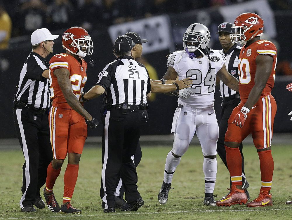 Oakland Raiders running back Marshawn Lynch was suspended one game for making contact with an official. (AP)