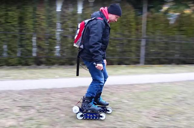 Electric rollerblades go offroad with tank treads