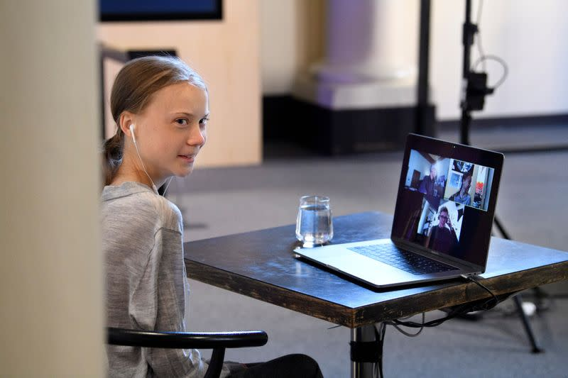 Environmental activist Greta Thunberg participates in a video conversation with Johan Rockstrom about the the coronavirus disease (COVID-19) and the environment at the Nobel Museum in Stockholm