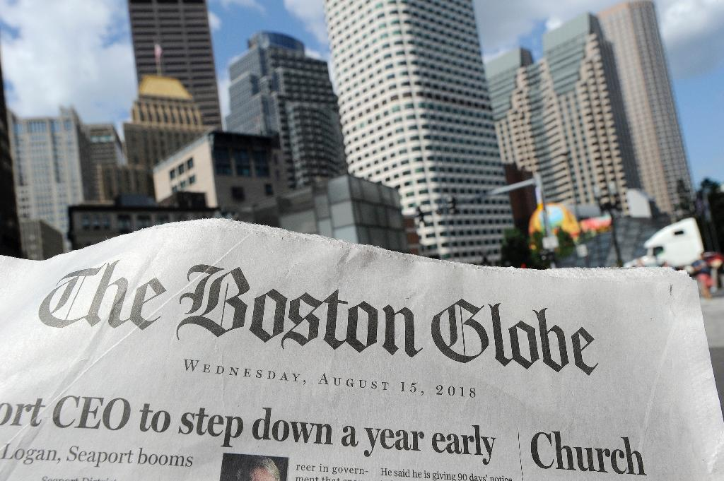 "More than 200 US news organizations have joined a campiagn led by the Boston Globe to counter President Donald Trump's contention that the media is the ""enemy of the people"" (AFP Photo/Joseph PREZIOSO)"
