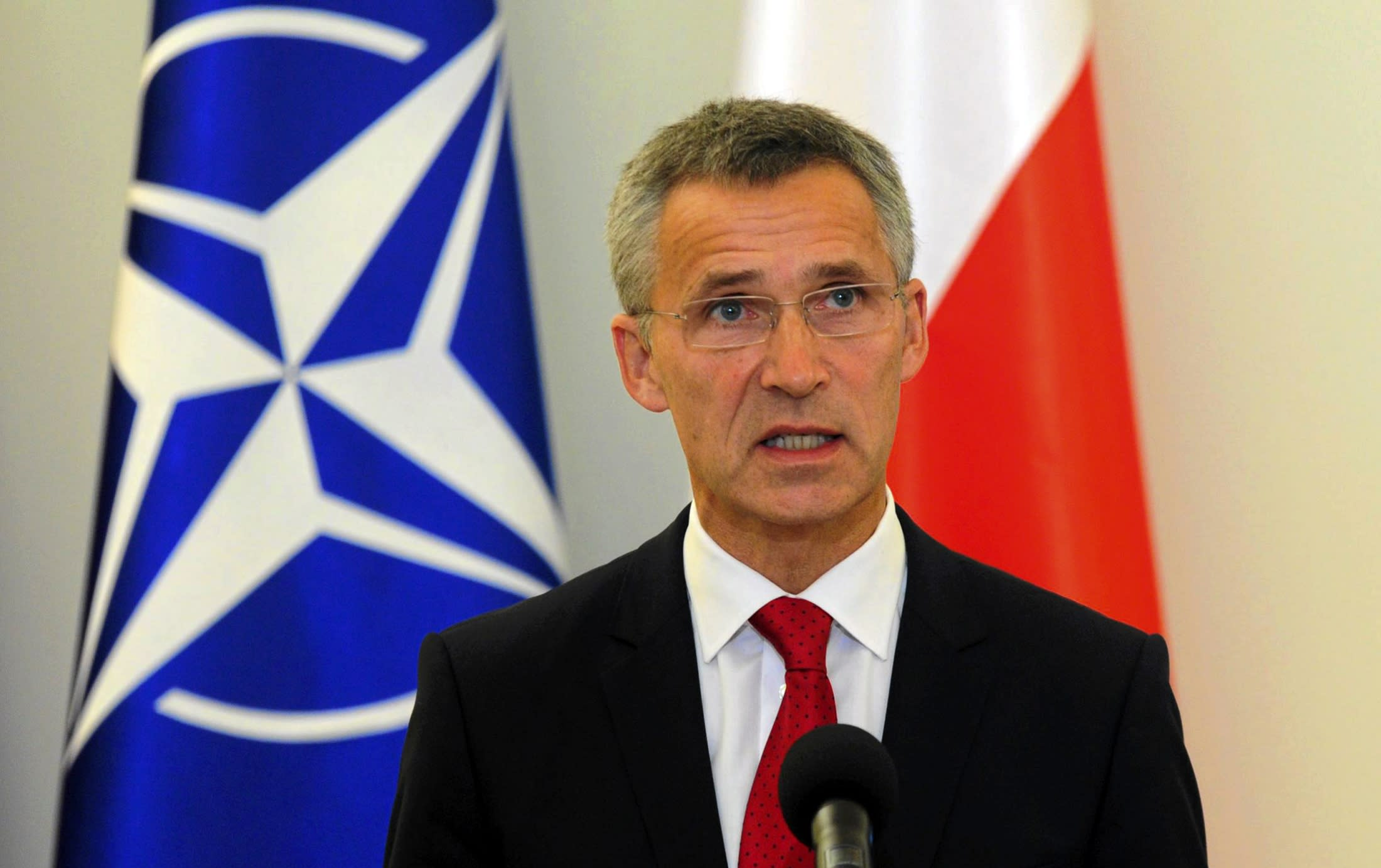 New NATO Secretary-General Stoltenberg of Norway addresses media at the Presidential Palace in Warsaw