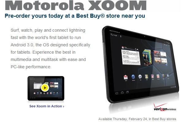 Motorola Xoom up for in-store pre-order at Best Buy, $800 for Thursday availability