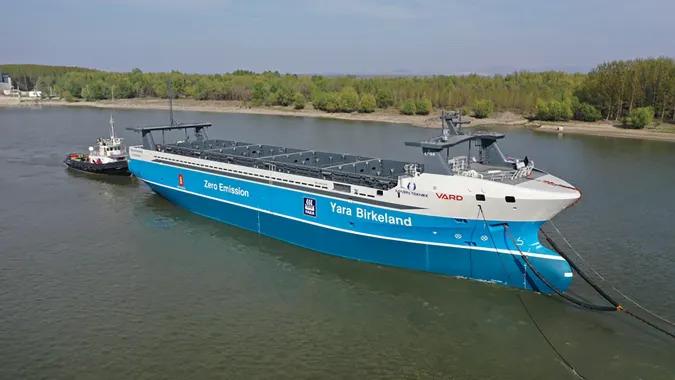 Yara Birkeland autonomous electric cargo ship