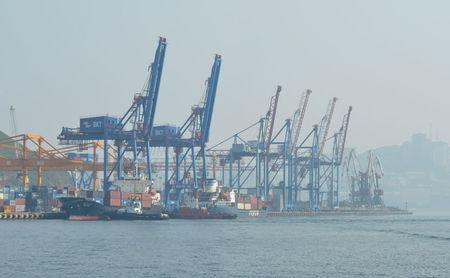 A general view shows a commercial port in Vladivostok