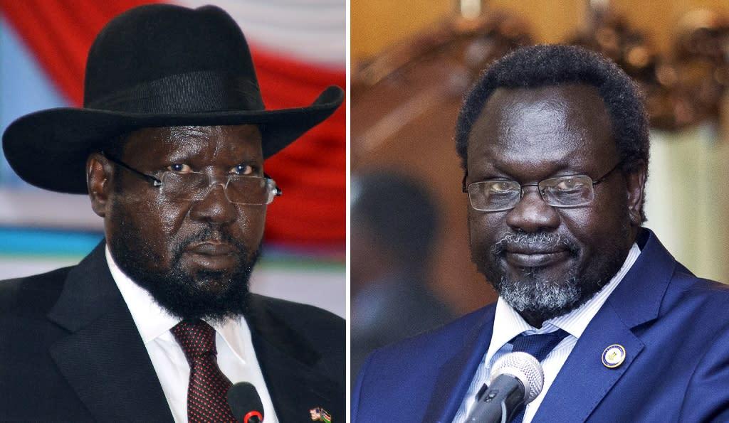 South Sudan's civil war began in December 2013 when President Salva Kiir (L) accused his former deputy Riek Machar (R) of planning a coup