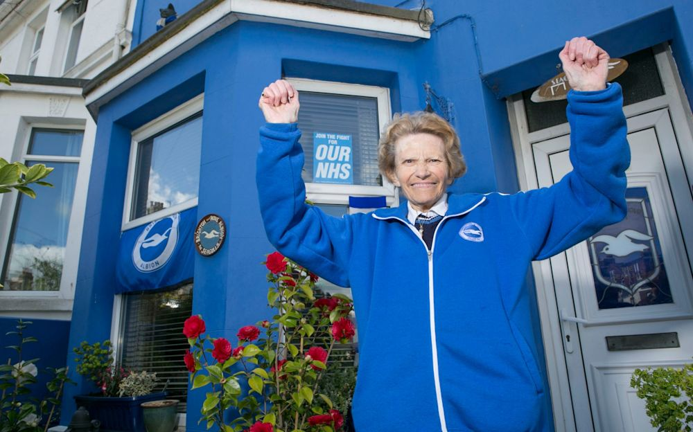 Dot Purvis is giddy with glee at her beloved Brighton's promotion - David McHugh for The Telegraph