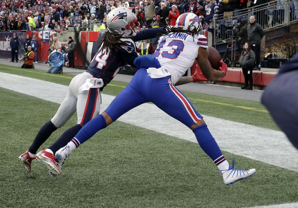 Kelvin Benjamin and the Bills thought they had momentum going into the locker room at halftime. Upon further review, the NFL saw things a different way. (AP)