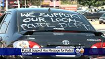 OC Pursuit Suspect With 'We Support Our Local Police Dept.' Written On Car Surrenders