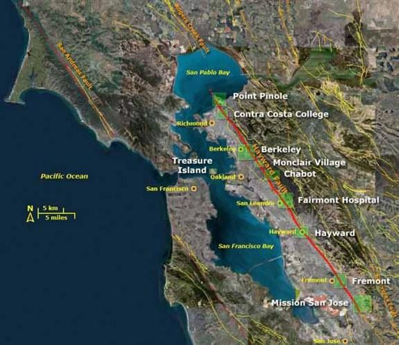 Location of the Hayward Fault.
