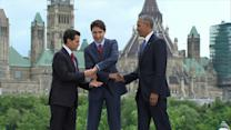 Obama Takes Part in Awkward Three-Person Handshake