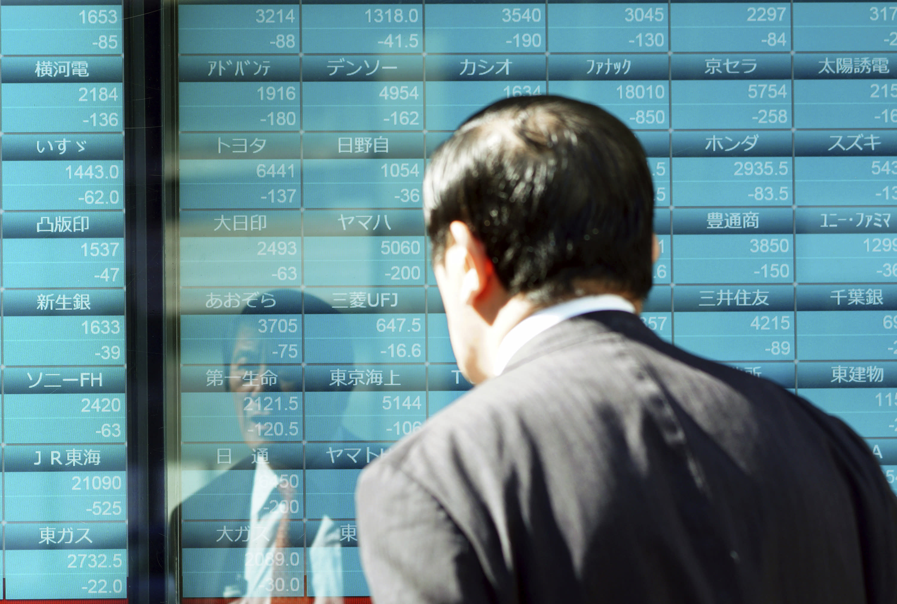 A man looks at an electronic stock board showing Japan's Nikkei 225 index and other countries index at a securities firm Thursday, Oct. 25, 2018 in Tokyo. Shares fell moderately in Asia on Thursday after another torrent of selling gripped Wall Street overnight, sending the Dow Jones Industrial Average plummeting more than 600 points and erasing its gains for the year. Japan's Nikkei 225 index sank sharply on the open but leveled off, regaining some lost ground. (AP Photo/Eugene Hoshiko)