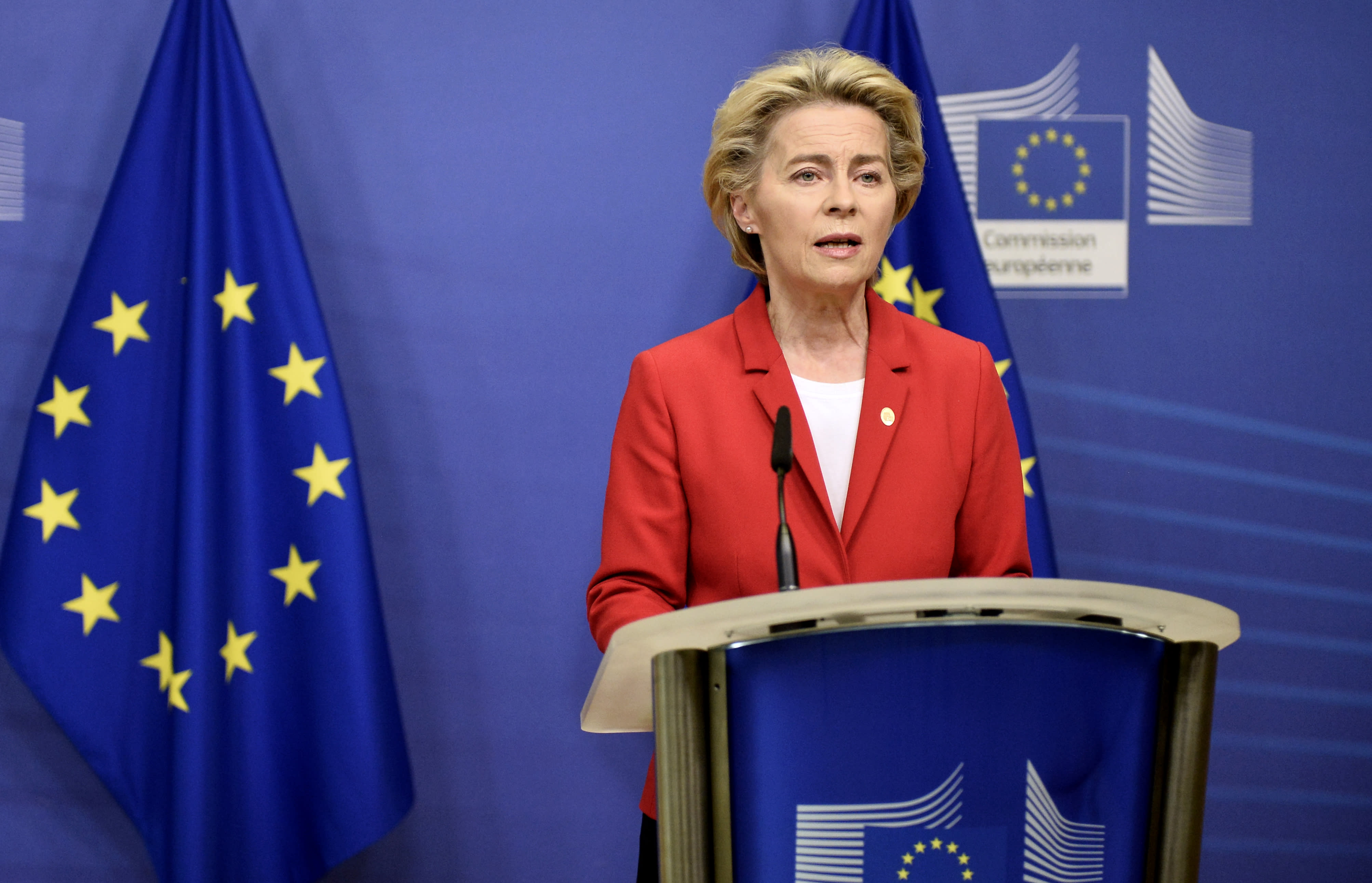 European Commission President Ursula von der Leyen makes a statement regarding teh Withdrawl Agreement at EU headquarters in Brussels, Thursday, Oct. 1, 2020. The European Union took legal action against Britain on Thursday over its plans to pass legislation that would breach parts of the legally binding divorce agreement the two sides reached late last year. (Johanna Geron, Pool via AP)