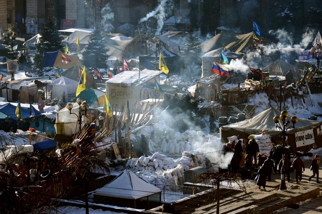 A view of tents at the Maidan Square in Kiev set up by Pro-European Union demonstrators on January 30, 2014 (AFP Photo/Vasily Maximov)