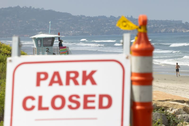 FILE PHOTO: Torrey Pines State Park is shown closed for the July 4th long weekend during the outbreak of the coronavirus disease (COVID-19) in, San Diego, California