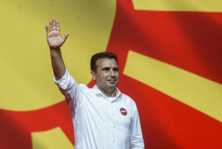 Zoran Zaev, leader of the ruling SDSM party is touting his success in ushering the country into NATO and getting a green light to start EU membership talks (AFP Photo/Robert ATANASOVSKI)